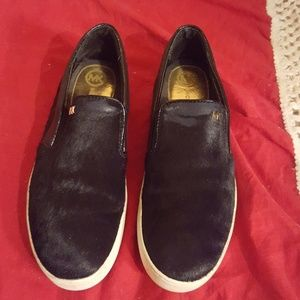 Michael Kors Fur & Leather Slip On Shoes